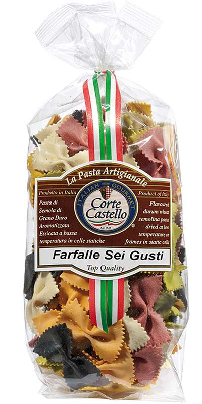 FARFALLE SEI GUSTI (six flavour bow ties) 250g durum wheat semolina