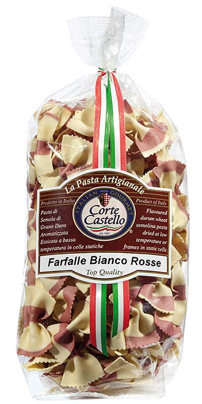 FARFALLE BIANCO ROSSE (white and red bow ties) 250g durum wheat semolina
