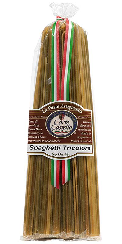 SPAGHETTI TRICOLORE (three-coloured) 500g durum wheat semolina